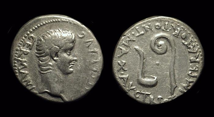 Ancient Coins - CALIGULA, AD 37-41. AR Drachm (3.75g).