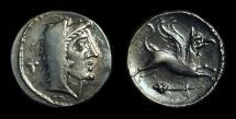 Ancient Coins - CELTIC, Eravisci. AR Denarius (3.34g) imitating Roman Republic, 1st Century BC.