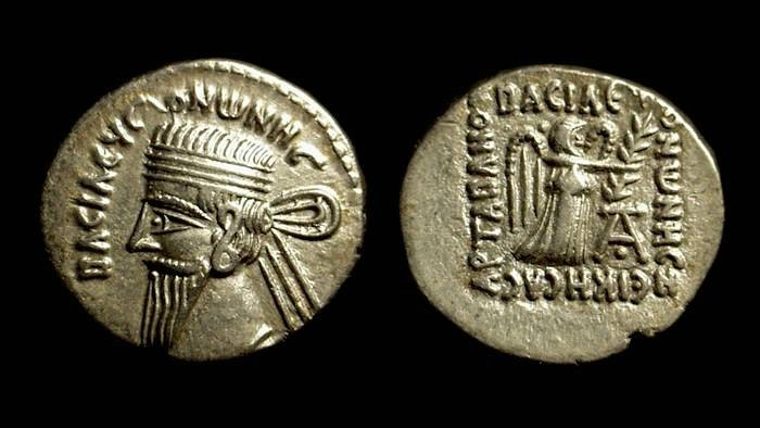 Ancient Coins - PARTHIAN KINGS. Vonones I, AD 8-12. AR Drachm (3.85g).