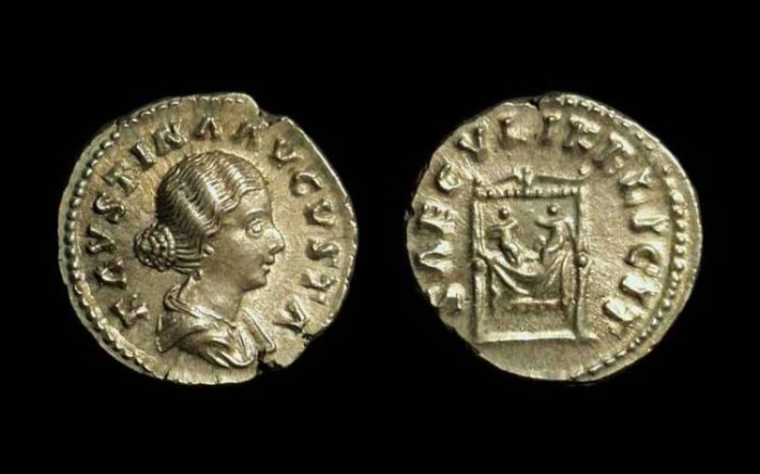Ancient Coins - Faustina Jr. Wife of Marcus Aurelius,   AR Denarius (3.32g).