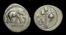Ancient Coins - Julius Caesar, assassinated 44 BC. AR Denarius (3.80g).