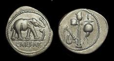 Ancient Coins - Julius Caesar, assassinated 44 BC. AR Denarius (3.80g).