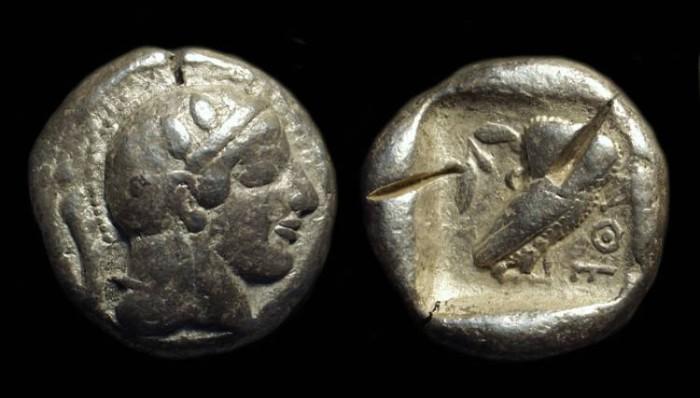 Ancient Coins - ATTICA, Athens. AR Tetradrachm (17.01g), c. 470-465 BC. Starr II variety
