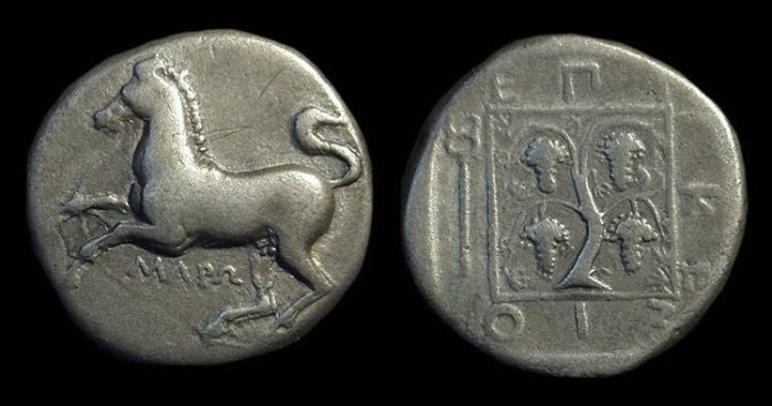 Ancient Coins - THRACE, Maroneia. AR Stater (10.66g), c. 400-350 BC.