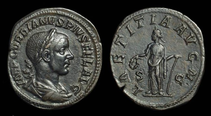Ancient Coins - GORDIAN III, AD 238-244. Æ Sestertius (24.35g).