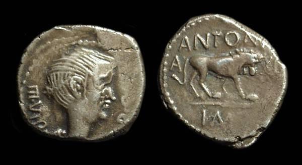 Ancient Coins - Fulvia, Wife of Marc Antony, AR Quinarius (1.67g), c. 42 BC.