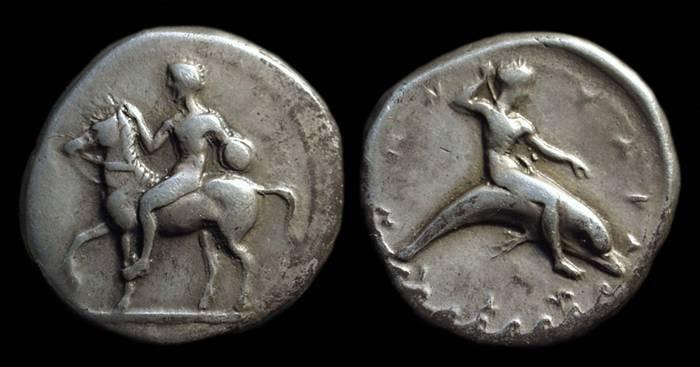 Ancient Coins - CALABRIA, Taras. AR Didrachm (7.73g), c. 415-390 BC.