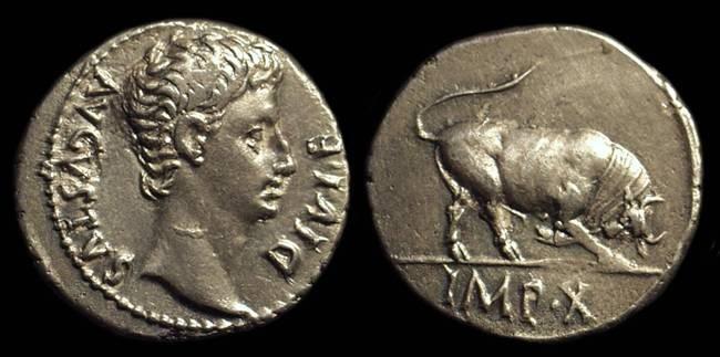 Ancient Coins - AUGUSTUS, 27 BC-AD 14. AR Denarius (3.67g).