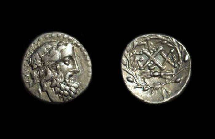 Ancient Coins - ELIS, Olympia. AR Hemidrachm (2.22g), c. 50-30 BC.