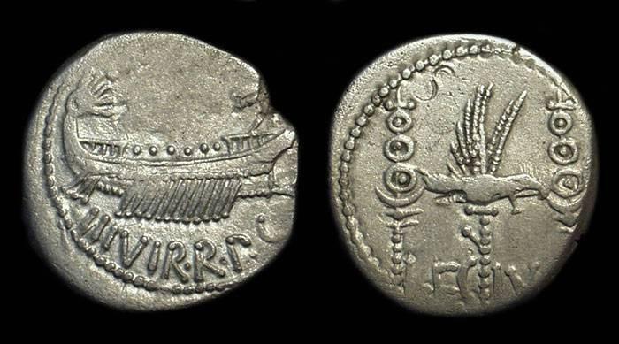 Ancient Coins - Marc Antony, c. 32-31 BC. AR Denarius (3.57g). Legion IV