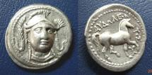 Ancient Coins - KINGS of PAEONIA. Audoleon. Tetradrachm. Facing Head of Athena.