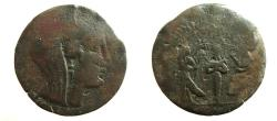 Ancient Coins - Melita. 218-175 BC. Æ 29mm.  Mummy of Osiris between winged figures of Isis and Nephtys.