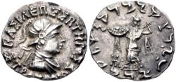 Ancient Coins - BAKTRIA, Indo-Greek Kingdom. Strato I Soter. Circa 105-85/0 BC. AR Drachm. Helmeted Bust. Rare.