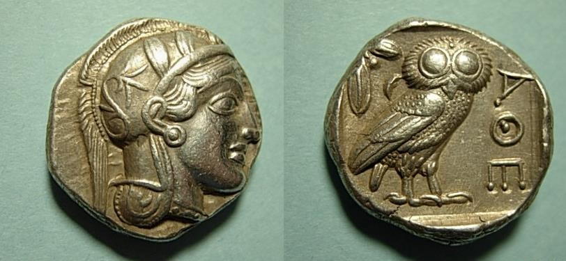 Ancient Coins - ATTICA, Athens. Circa 449-404 BC. AR Tetradrachm Nearly full crest of Athena's Helmet