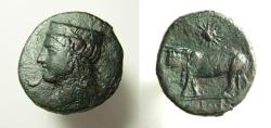"Ancient Coins - SICILY, Panormos as ""Ziz"" . Circa 380-340 BC. Æ 22 Head of Hera/ Man-headed bull. Rare."