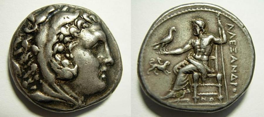 Ancient Coins - Alexander tetradrachm.  Mint of Corinth.  Very Rare Symbol Chimaera.  Nice example.