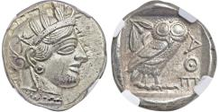 Ancient Coins - Superb Athens Owl.  Ca. 454-404 BC. AR tetradrachm. NGC MS 5/5 - 5/5.