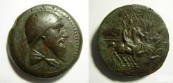 Ancient Coins - Parthia. Mithradates I. Very Rare Æ Octachalkon. Dioskouroi on horseback. Probably finest known according to PDC..