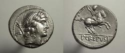 Ancient Coins - Publius Crepusius. AR denarius. Hd. Apollo/ Horseman. EF, some luster. Ex Cederlind.
