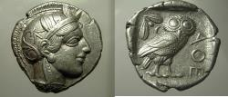Ancient Coins - ATTICA, Athens. Circa 454-404 BC. EF Tetradrachm. Athena/ Owl.  Luster.  Nearly Full Crest.  Well Struck.
