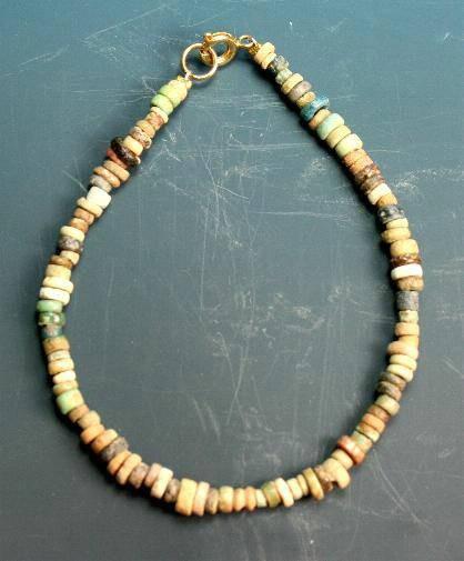 Ancient Coins - Egyptian faience bead bracelet.  C. New kingdom.  1400 BC.  Nice selection.