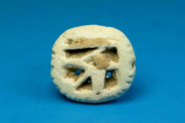 Ancient Coins - Egyptian faiance 'Eye of horus' amulet.  Late-Ptolemaic period.