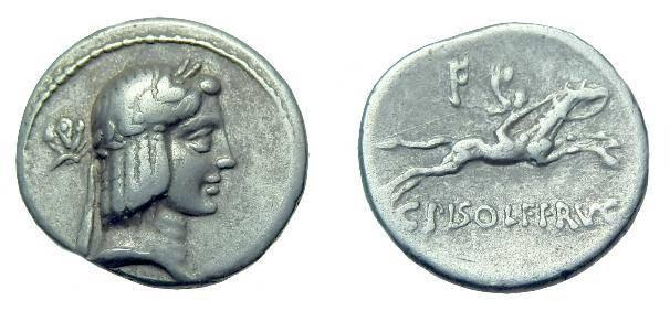 Ancient Coins - C Calpurnius Piso L f Frugi.  Ar denarius.  C. 67 BC.