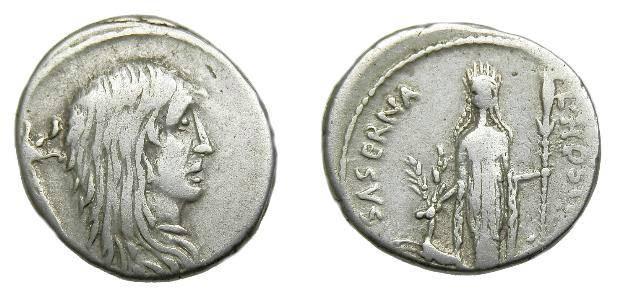 Ancient Coins - L Hostillius Saserna.  Ar denarius.  C. 486 BC. Scarce