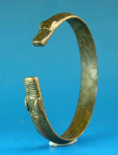 Ancient Coins - Viking bronze zoomorphic bracelet.  C. 10th century.  Nice example.
