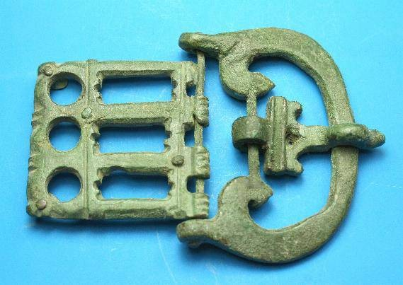 Ancient Coins - Roman Bronze military buckle and plate.  C. 4th-5th century AD.