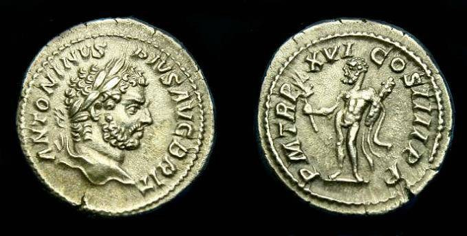 Ancient Coins - Caracalla.  Ar denarius.  213 AD.  Super detail.