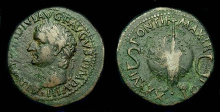 Ancient Coins - Tiberius.  Ae as.  36-37 AD.  Scarce.
