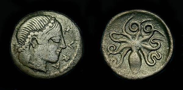 Ancient Coins - Sicily, Syracuse.  Ar litra.  474-450 BC.