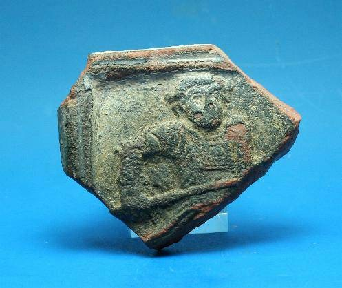 Ancient Coins - Late Romann red ware sherd depicting gladiator.  C. 4th-5th century AD.
