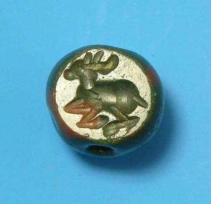 Ancient Coins - SASANIAN JASPER STAMP SEAL DEPICTING RECUMBENT HART