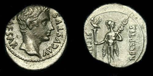 Ancient Coins - Augustus.  Ar denarius.  19BC.  Scarce type.