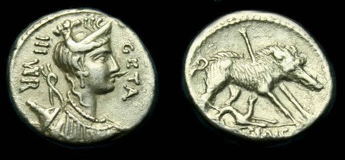 Ancient Coins - C Hosidius C f Geta.  Ar denarius.  64 BC.  Nice detail.