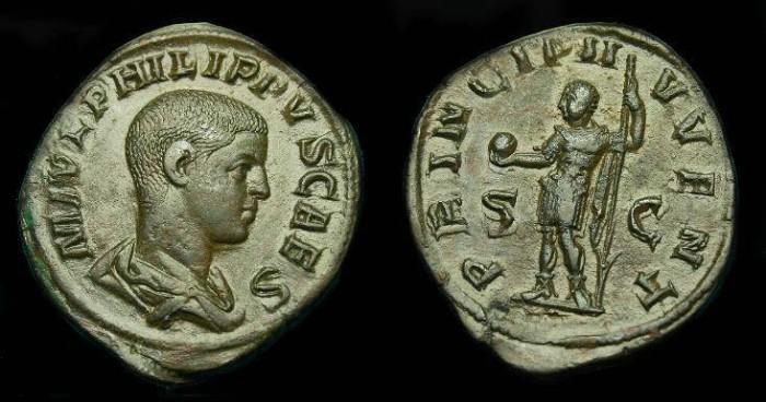 Ancient Coins - Philip II.  Ae sestertius.  247-249 AD.  Superb example.