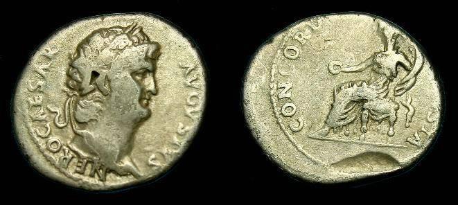 Ancient Coins - Nero.  Ar denarius.  54-68 AD.  CONCORDIA.