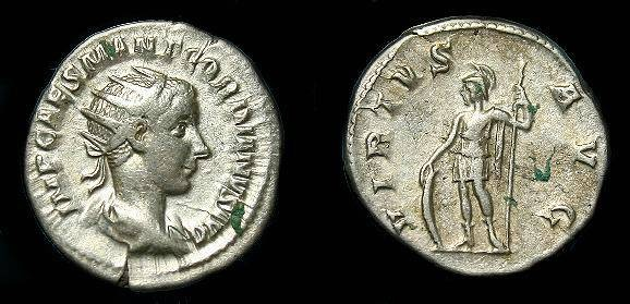 Ancient Coins - Gordian.  Ar ant.  238-244 AD.  Good silver.