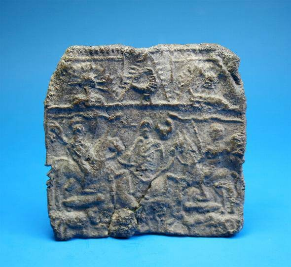 Ancient Coins - Decorated Roman/Danubian lead plaque.  C. 4th century.