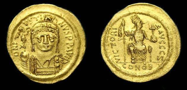 Ancient Coins - Justin II.  Au solidus.  565-578 AD.  Rare short beard variant.