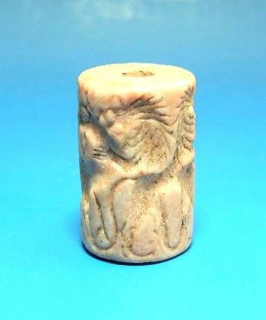 Ancient Coins - WHITE AND PINK MARBLE SUMERIAN CYLINDER SEAL
