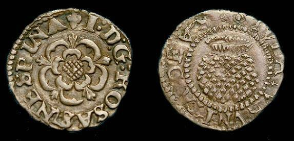 Ancient Coins - James I.  Ar penny.  1619-1625.  Super detail.