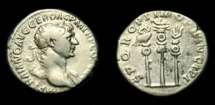 Ancient Coins - Trajan.  Ar denarius.  113 AD.
