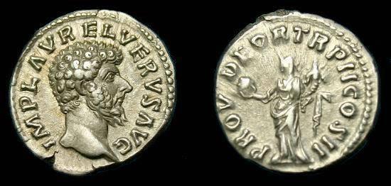 Ancient Coins - Lucius Verus.  Ar denarius.  138-192 AD.