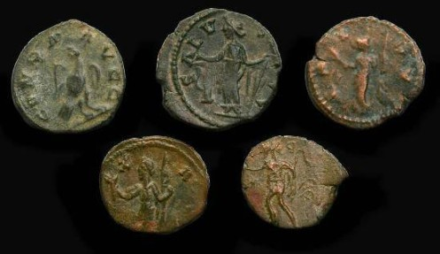 Ancient Coins - 5 Ae Barbarous Radiates.  Imitating the coinage of the late 3rd century AD from the Roman empire of Gaul & Britain.
