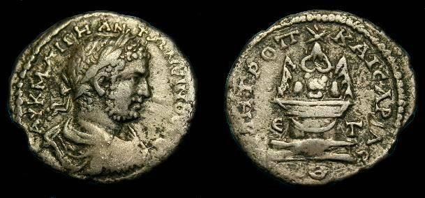 Ancient Coins - caracalla.  Ar tridrachm.  198-217 AD.