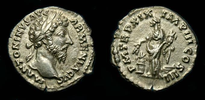 Ancient Coins - Marcus Aurelius.  Ar denarius.  165 AD.  Good detail.