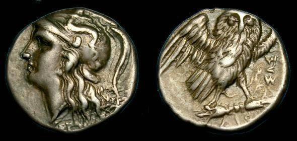 Ancient Coins - Calabria, Taras.  Ar drachm.  302-281 BC.  Nice example.